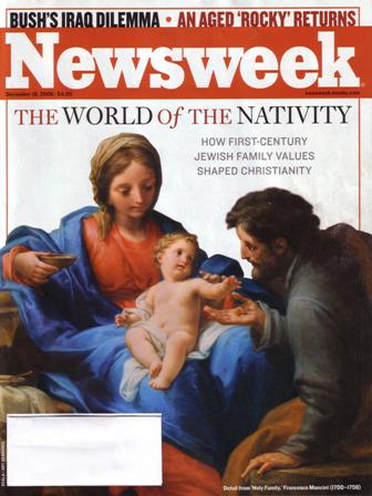 Newsweek cover with Mary, Joseph, baby Jesus
