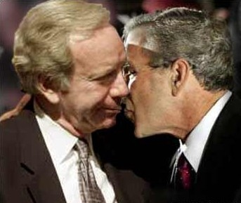 "Lieberman, Bush, in their famous ""The Kiss"" photo"