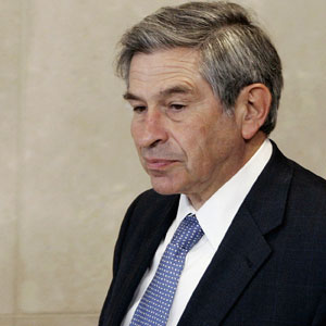 Wolfowitz, looking downtrodden